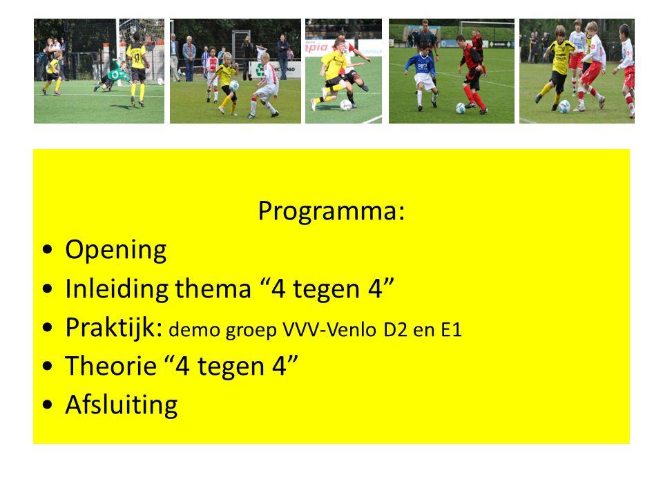 Programma: Opening. Inleiding thema 4 tegen 4 Praktijk: demo groep VVV-Venlo D2 en E1. Theorie 4 tegen 4