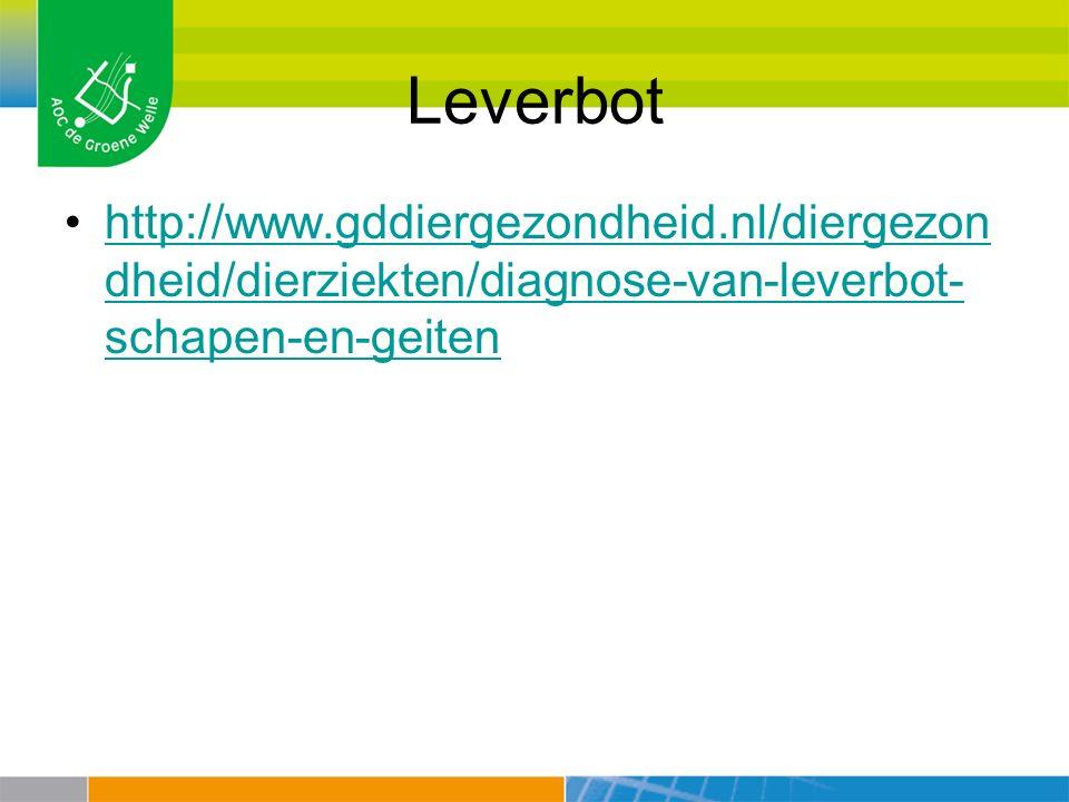 Leverbot http://www.gddiergezondheid.nl/diergezondheid/dierziekten/diagnose-van-leverbot-schapen-en-geiten.