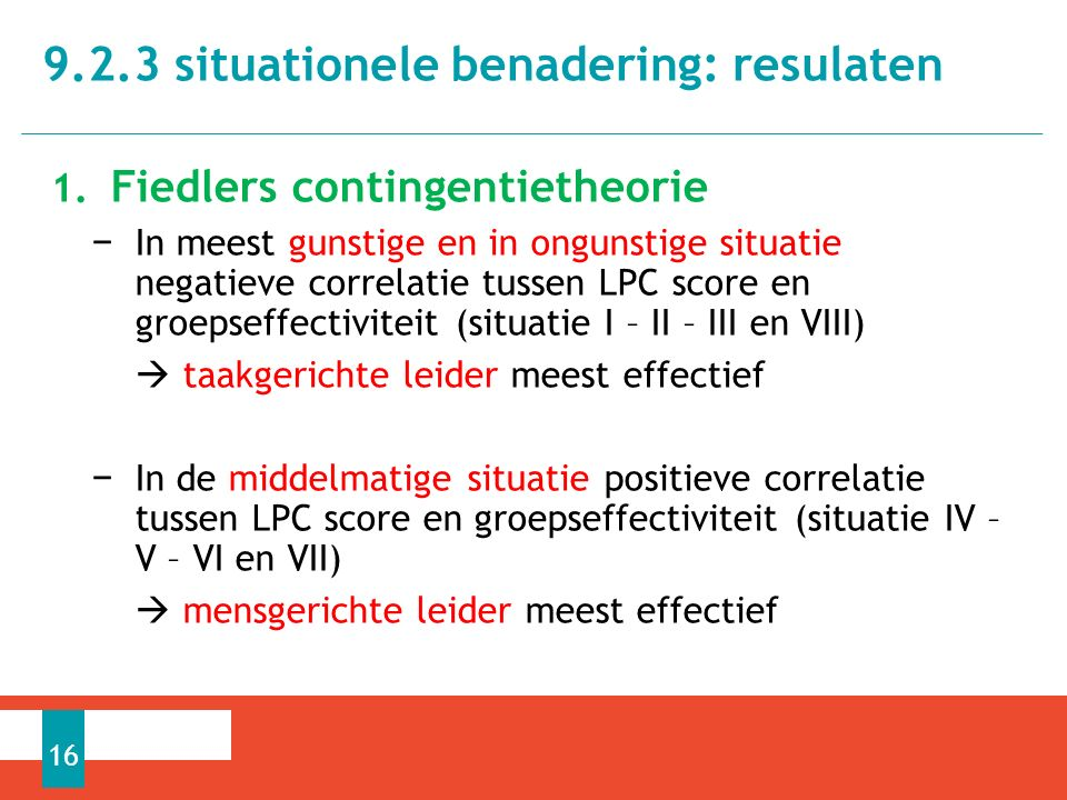 9.2.3 situationele benadering: resulaten