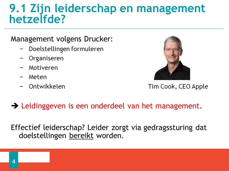 9.1 Zijn leiderschap en management hetzelfde