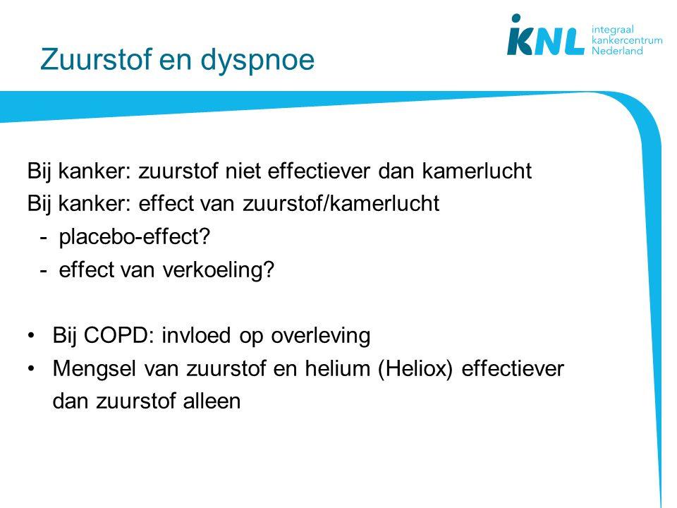 Zuurstof en dyspnoe Bij kanker: zuurstof niet effectiever dan kamerlucht. Bij kanker: effect van zuurstof/kamerlucht.