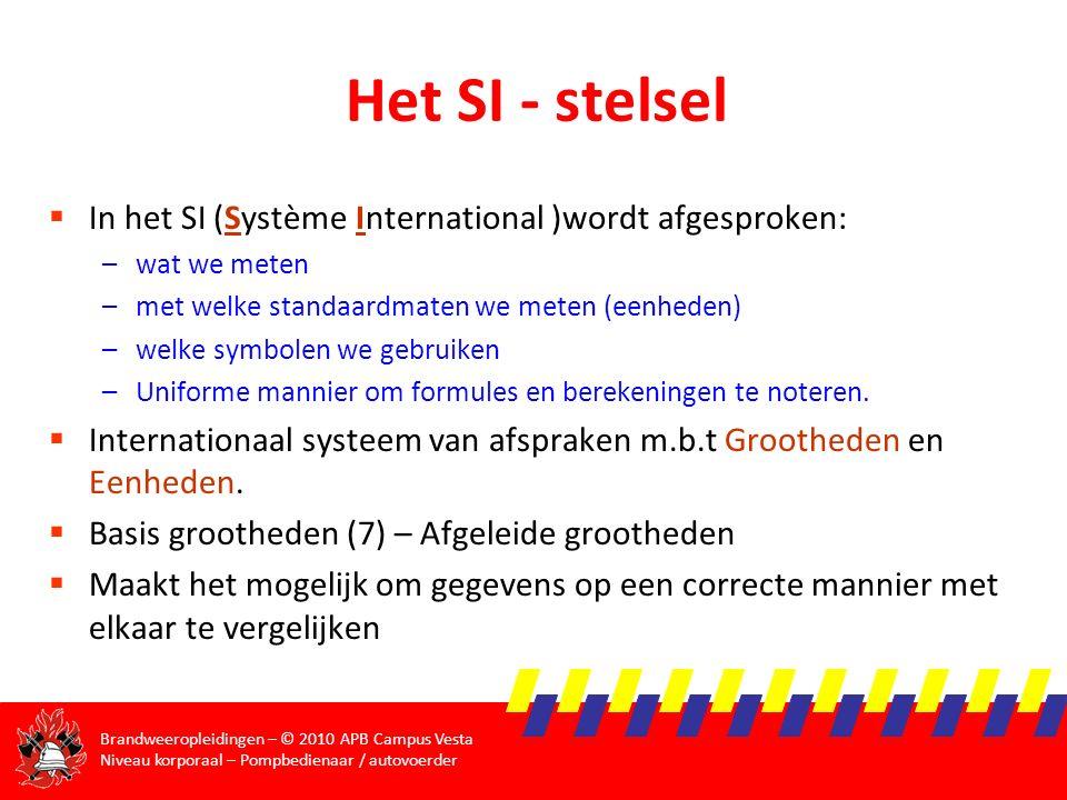 Het SI - stelsel In het SI (Système International )wordt afgesproken: