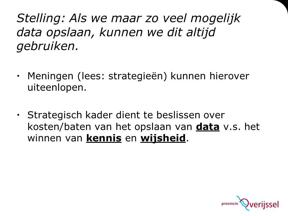 Stelling: Als we maar zo veel mogelijk data opslaan, kunnen we dit altijd gebruiken.