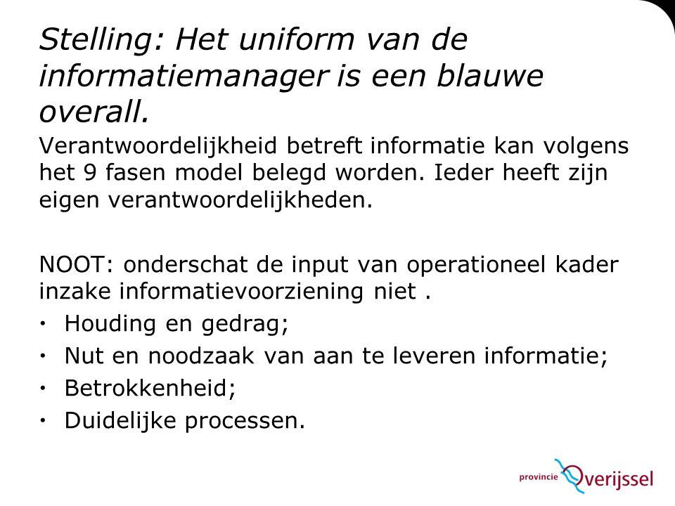 Stelling: Het uniform van de informatiemanager is een blauwe overall.