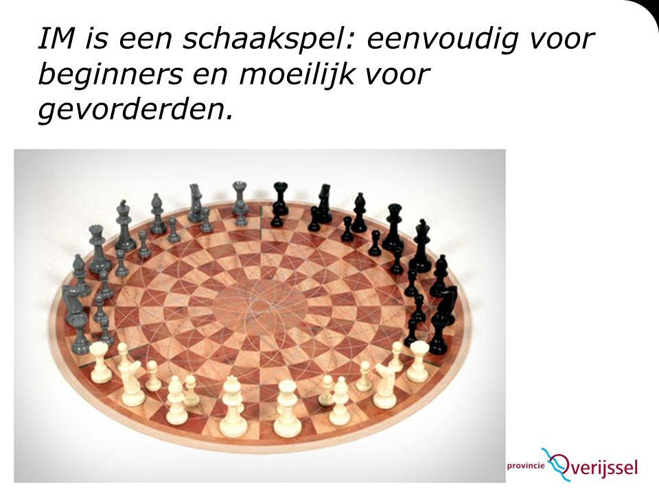 IM is een schaakspel: eenvoudig voor beginners en moeilijk voor gevorderden.