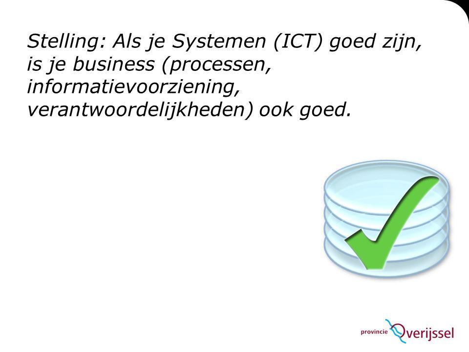 Stelling: Als je Systemen (ICT) goed zijn, is je business (processen, informatievoorziening, verantwoordelijkheden) ook goed.