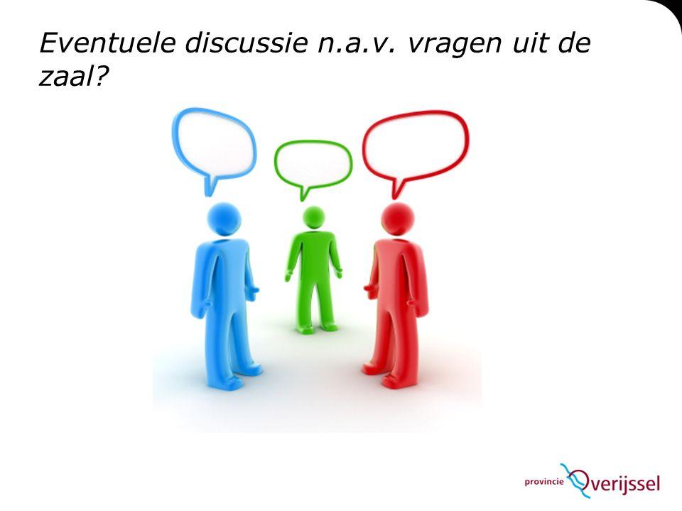 Eventuele discussie n.a.v. vragen uit de zaal