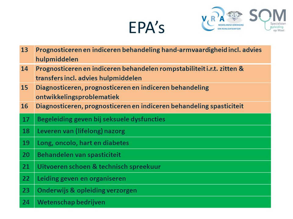 EPA's 13. Prognosticeren en indiceren behandeling hand-armvaardigheid incl. advies hulpmiddelen. 14.