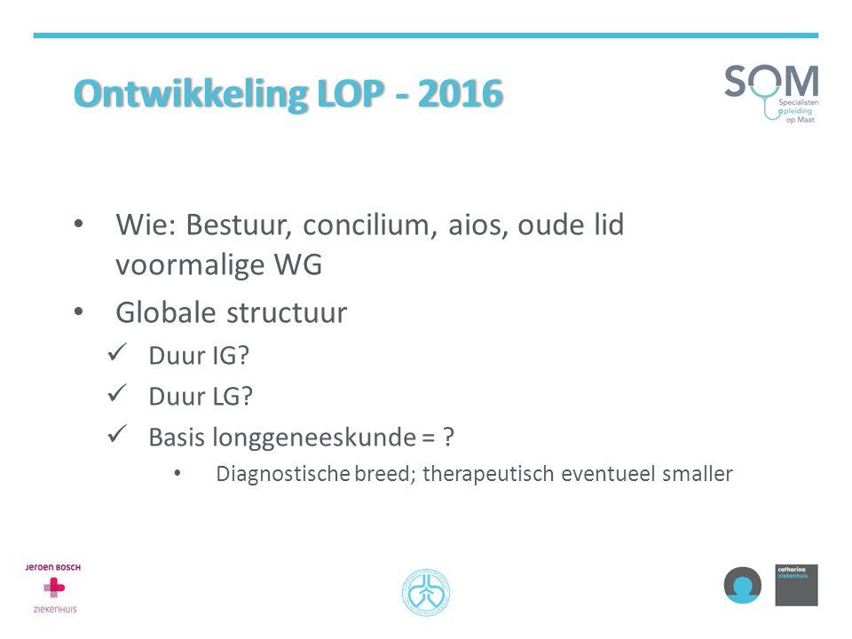 Ontwikkeling LOP - 2016 Wie: Bestuur, concilium, aios, oude lid voormalige WG. Globale structuur. Duur IG