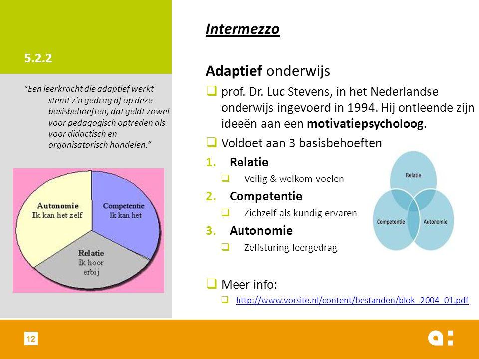 Intermezzo Adaptief onderwijs 5.2.2