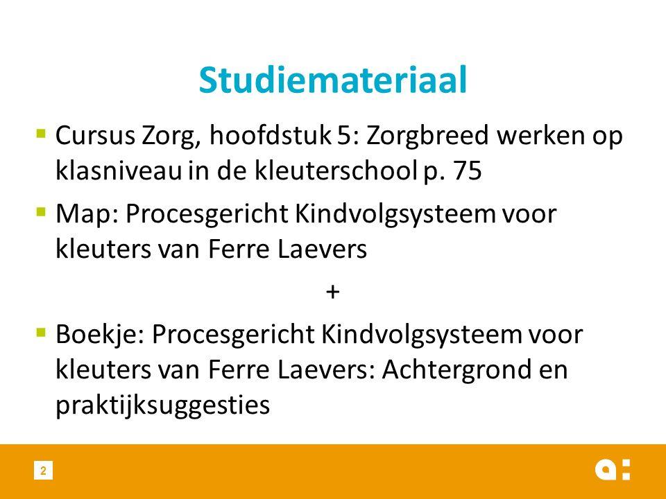 Studiemateriaal Cursus Zorg, hoofdstuk 5: Zorgbreed werken op klasniveau in de kleuterschool p. 75.