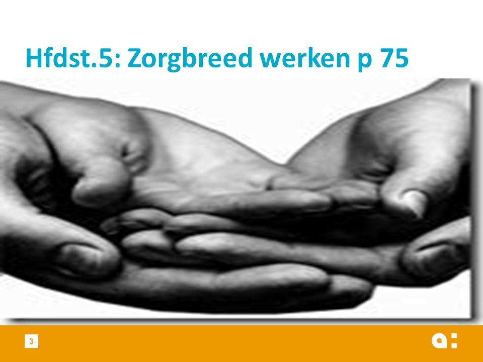 Hfdst.5: Zorgbreed werken p 75