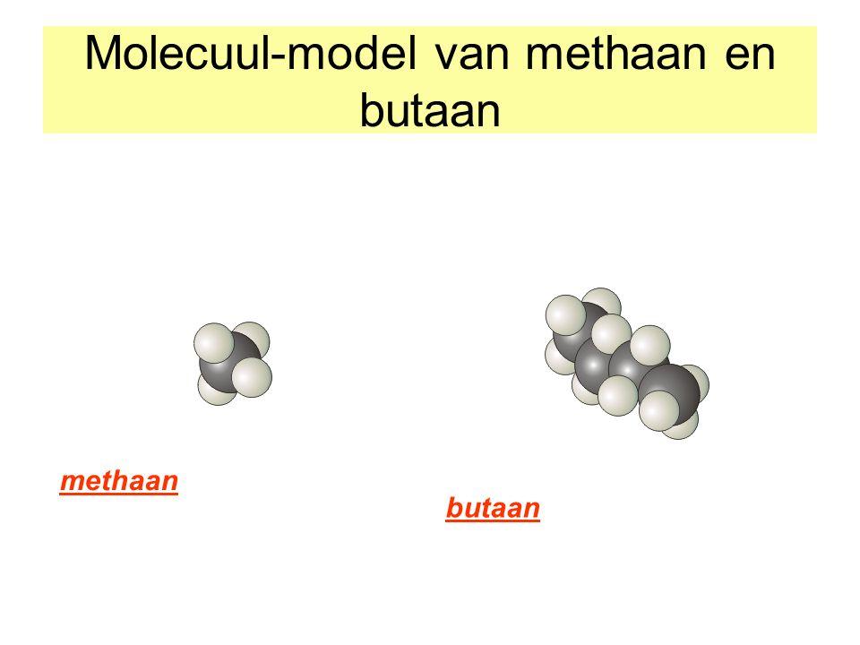 Molecuul-model van methaan en butaan