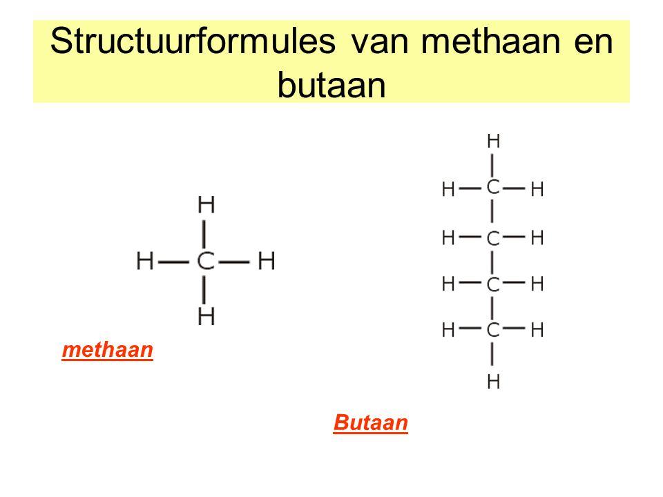 Structuurformules van methaan en butaan