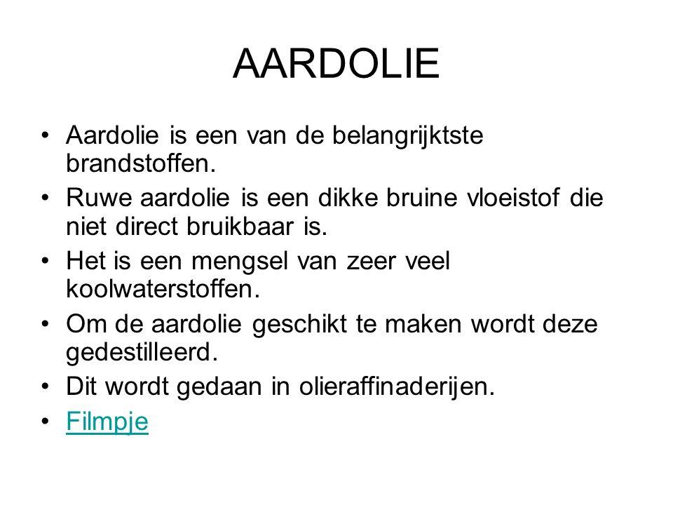 AARDOLIE Aardolie is een van de belangrijktste brandstoffen.