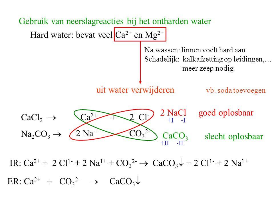 Gebruik van neerslagreacties bij het ontharden water