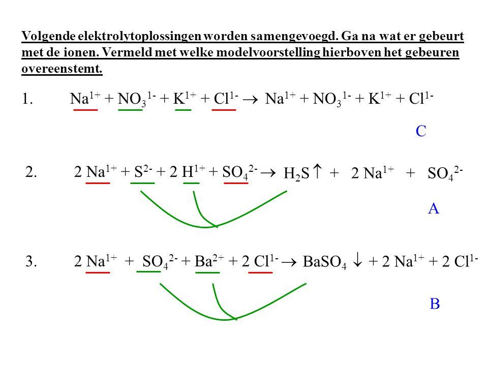 1. Na1+ + NO31- + K1+ + Cl1-  Na1+ + NO31- + K1+ + Cl1- C