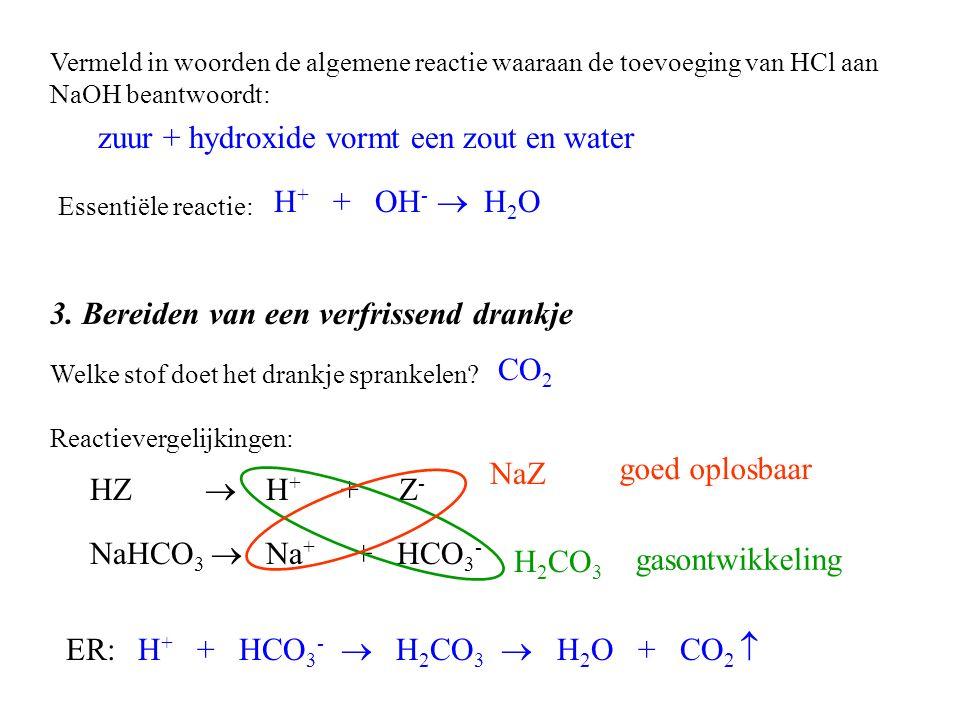 zuur + hydroxide vormt een zout en water