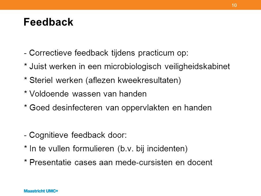 Feedback Correctieve feedback tijdens practicum op: