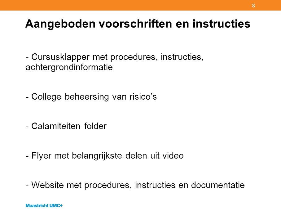 Aangeboden voorschriften en instructies