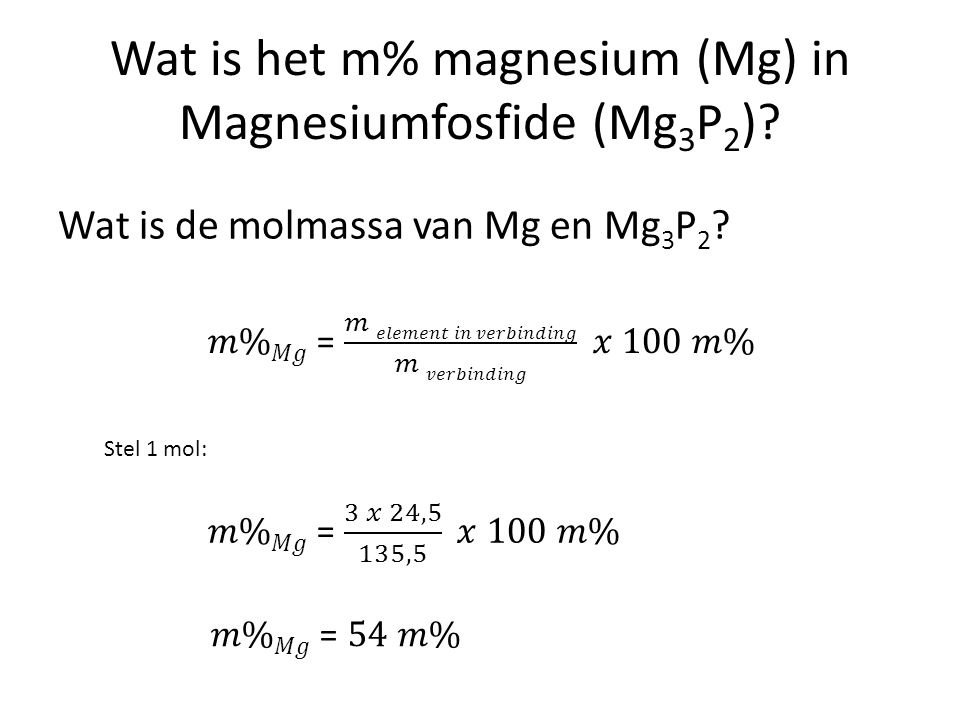 Wat is het m% magnesium (Mg) in Magnesiumfosfide (Mg3P2)