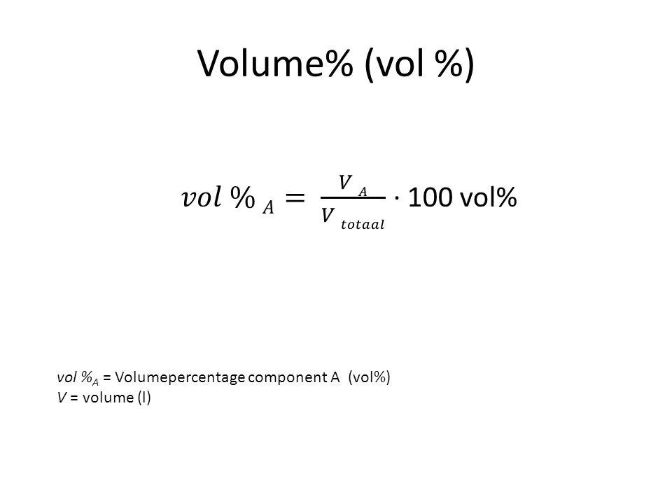 Volume% (vol %) 𝑣𝑜𝑙 % 𝐴= 𝑉 𝐴 𝑉 𝑡𝑜𝑡𝑎𝑎𝑙 ∙ 100 vol%