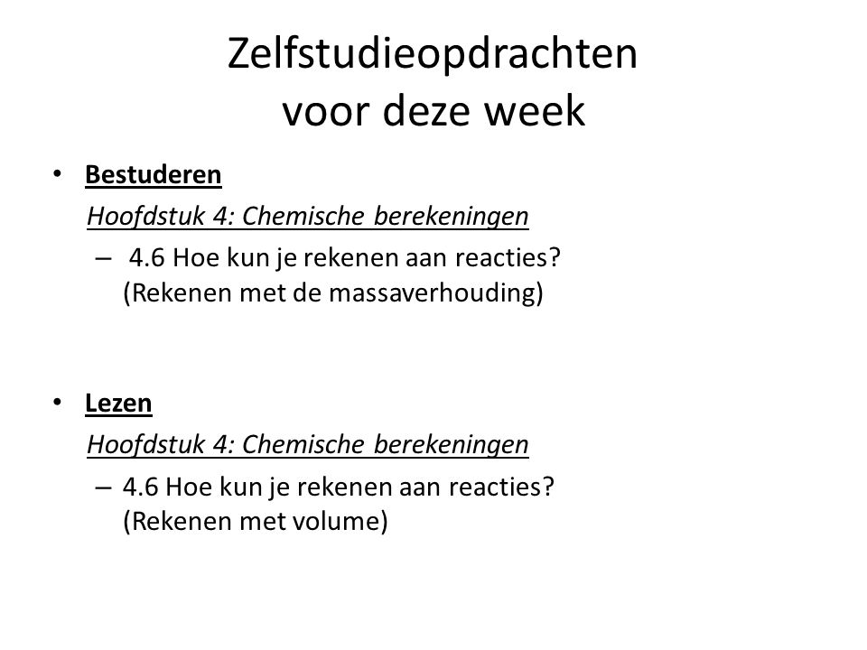 Zelfstudieopdrachten voor deze week