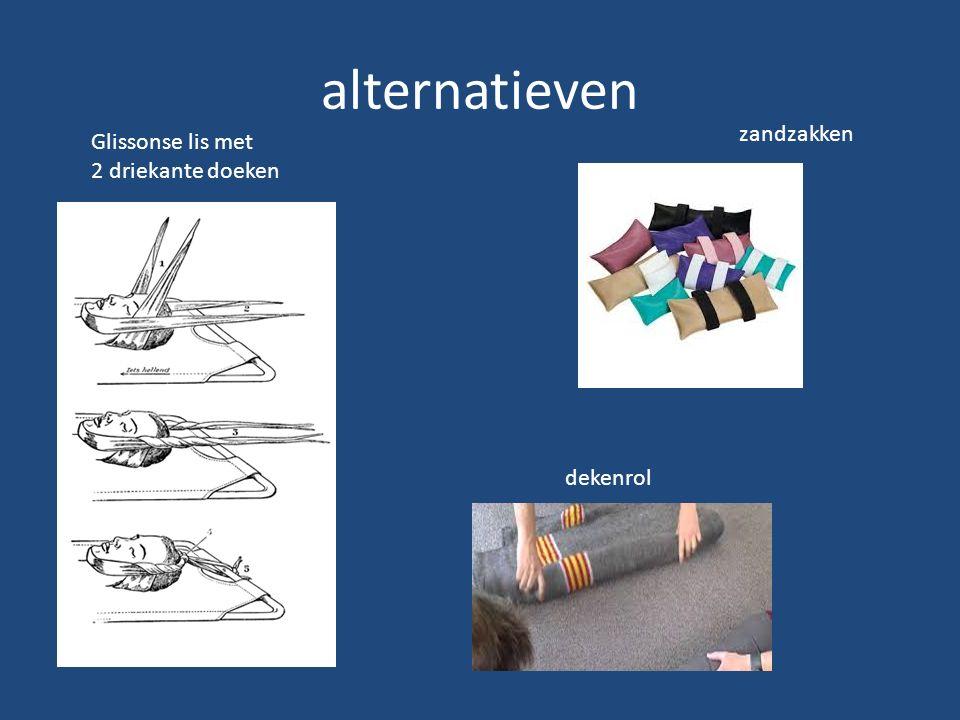 alternatieven zandzakken Glissonse lis met 2 driekante doeken dekenrol