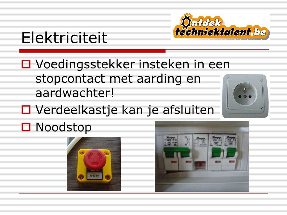 Elektriciteit Voedingsstekker insteken in een stopcontact met aarding en aardwachter! Verdeelkastje kan je afsluiten.