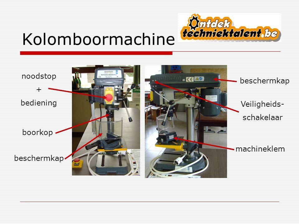 Kolomboormachine noodstop + beschermkap bediening Veiligheids-