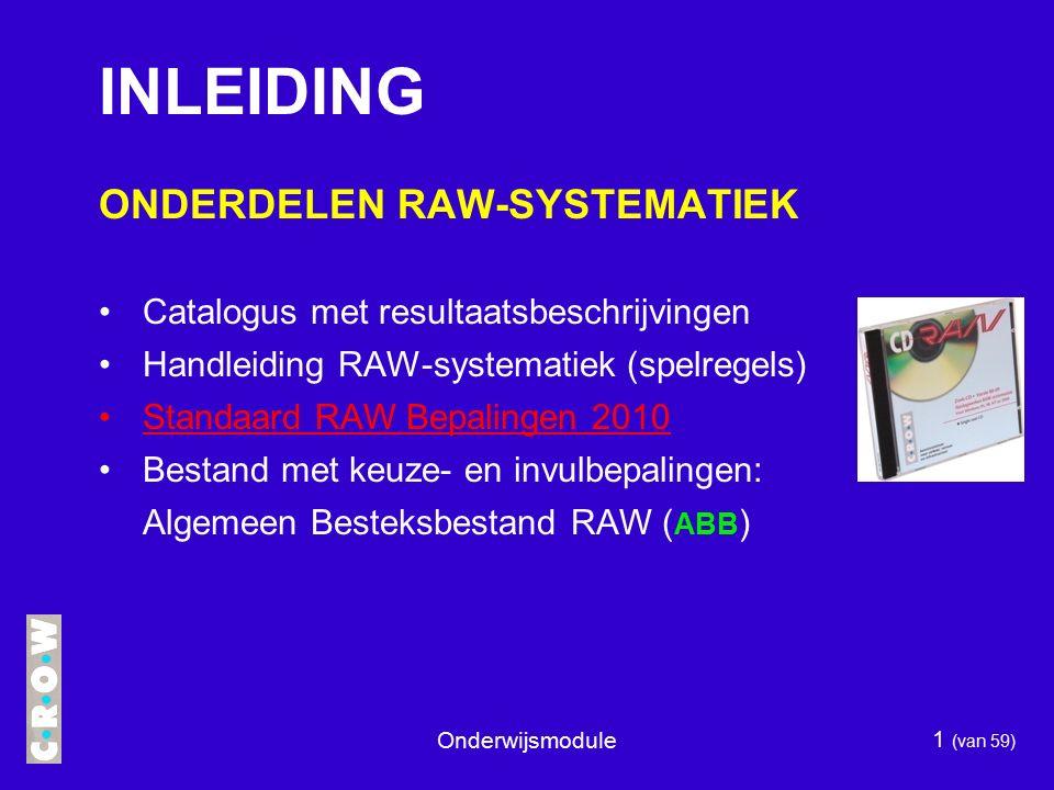 INLEIDING ONDERDELEN RAW-SYSTEMATIEK