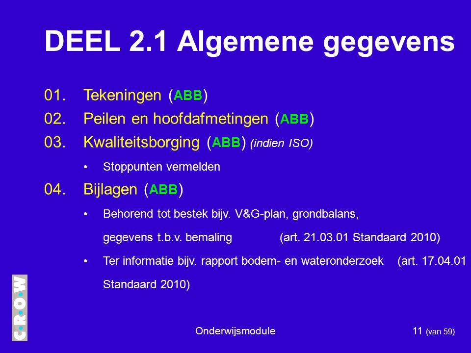 DEEL 2.1 Algemene gegevens