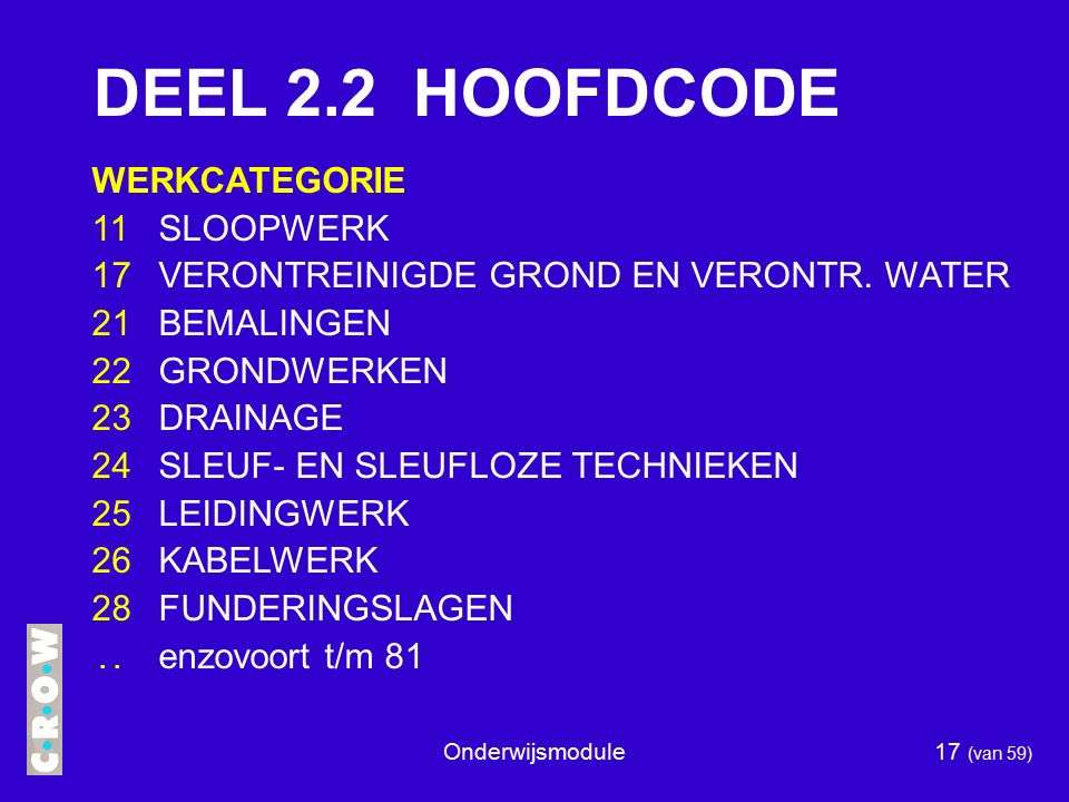 DEEL 2.2 HOOFDCODE WERKCATEGORIE 11 SLOOPWERK