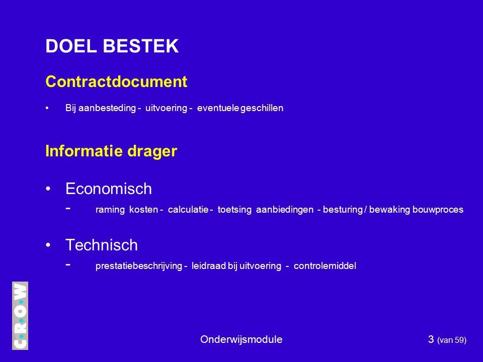 DOEL BESTEK Contractdocument Informatie drager