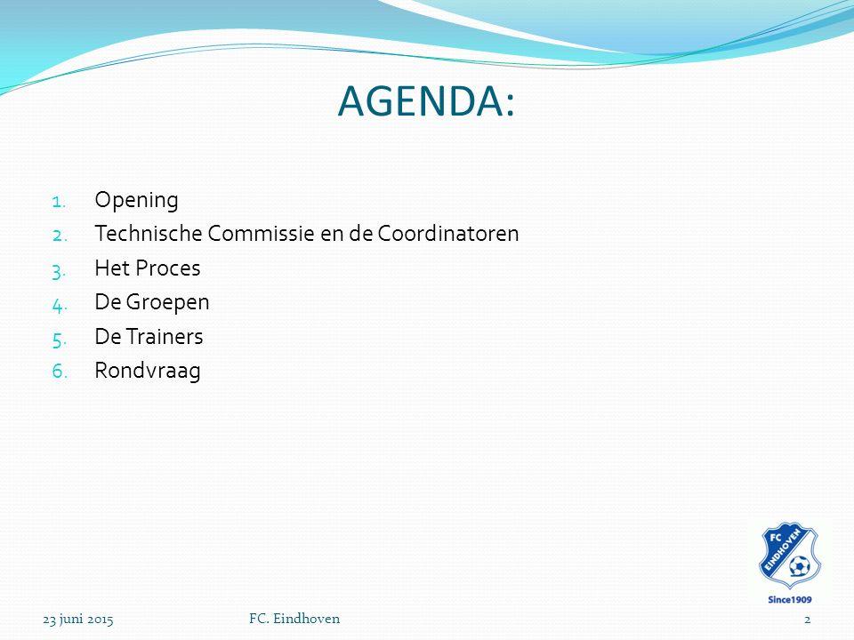 AGENDA: Opening Technische Commissie en de Coordinatoren Het Proces