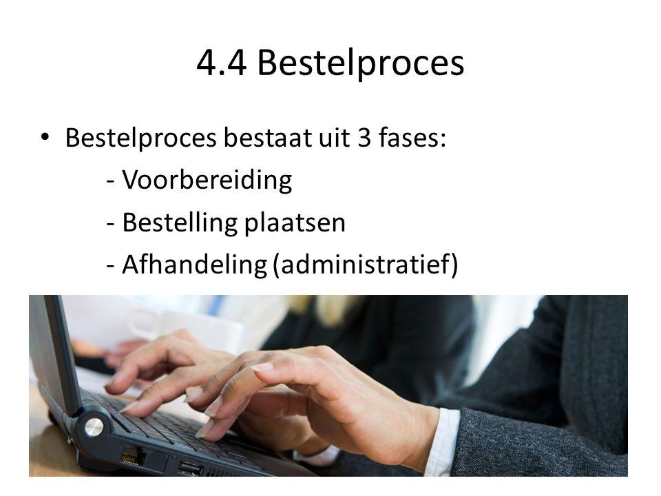 4.4 Bestelproces Bestelproces bestaat uit 3 fases: - Voorbereiding