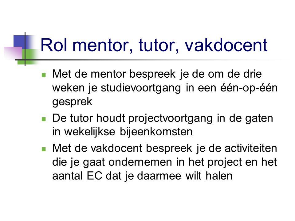 Rol mentor, tutor, vakdocent