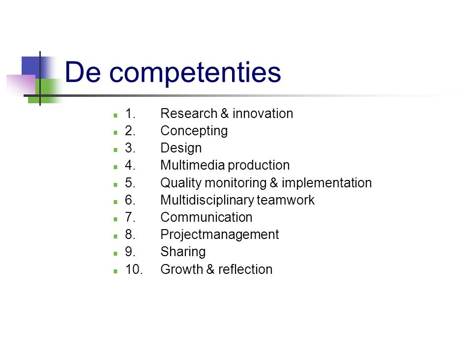 De competenties 1. Research & innovation 2. Concepting 3. Design