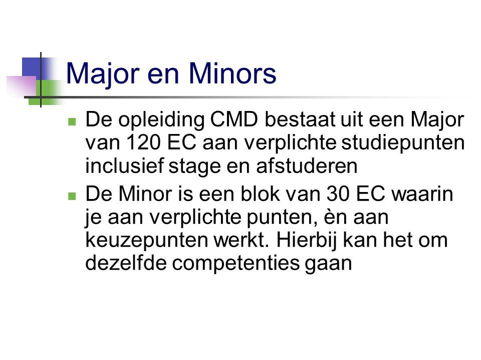 Major en Minors De opleiding CMD bestaat uit een Major van 120 EC aan verplichte studiepunten inclusief stage en afstuderen.