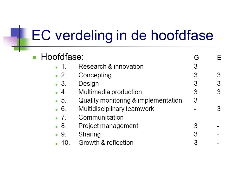 EC verdeling in de hoofdfase