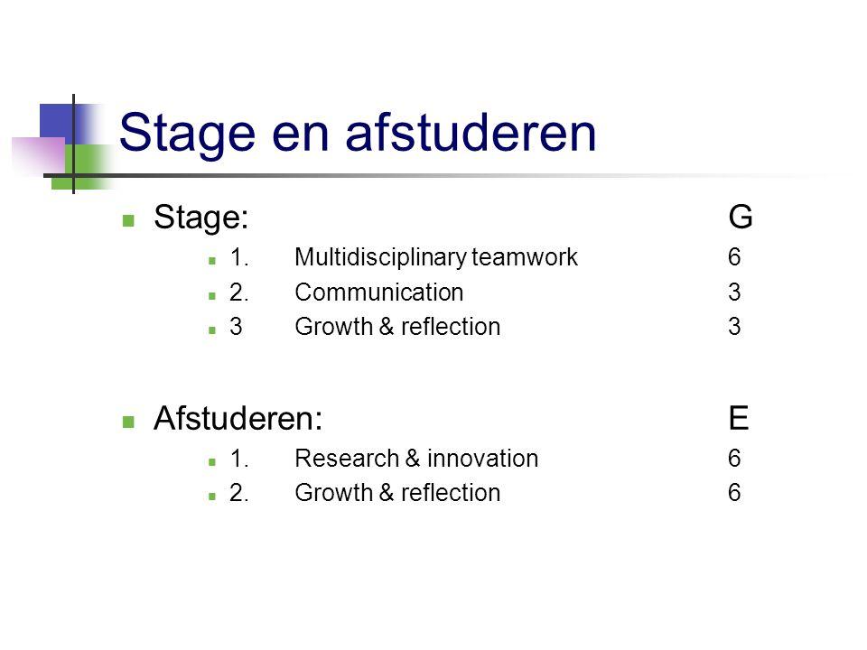 Stage en afstuderen Stage: G Afstuderen: E