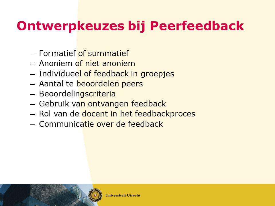 Ontwerpkeuzes bij Peerfeedback