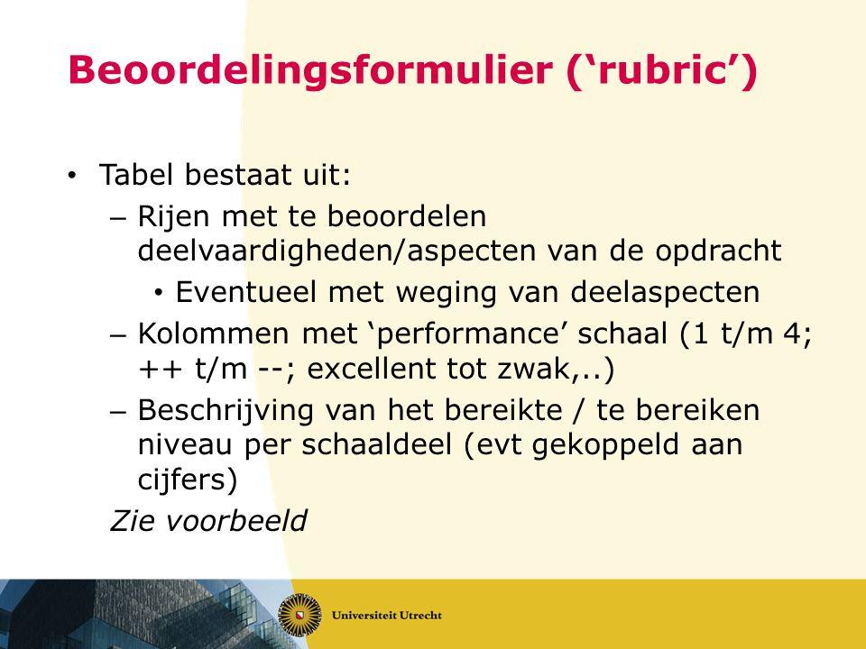 Beoordelingsformulier ('rubric')