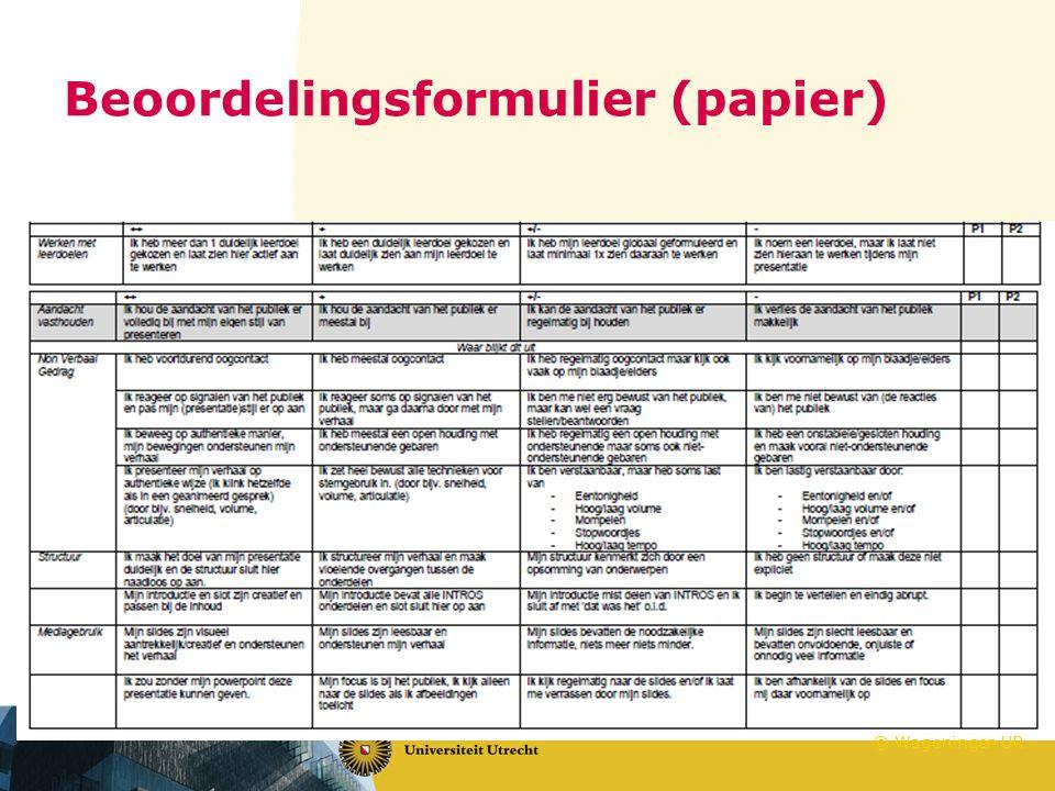 Beoordelingsformulier (papier)