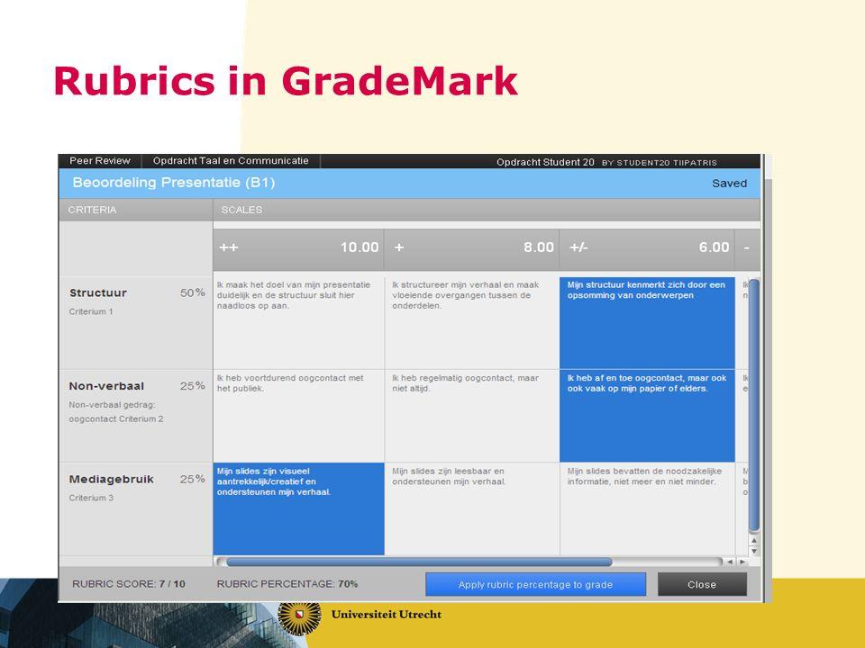 Rubrics in GradeMark