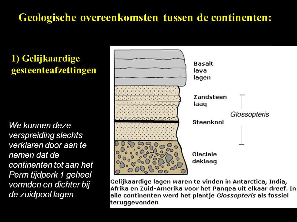 Geologische overeenkomsten tussen de continenten:
