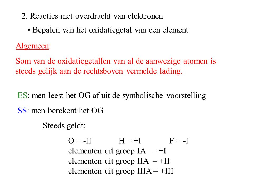 2. Reacties met overdracht van elektronen