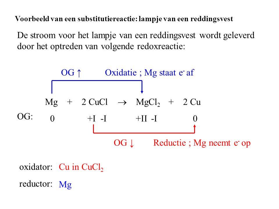 Oxidatie ; Mg staat e- af