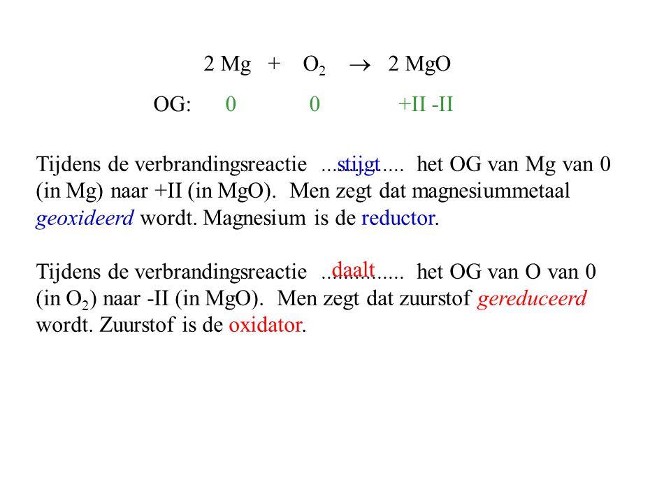 2 Mg + O2  2 MgO OG: 0 0 +II -II.