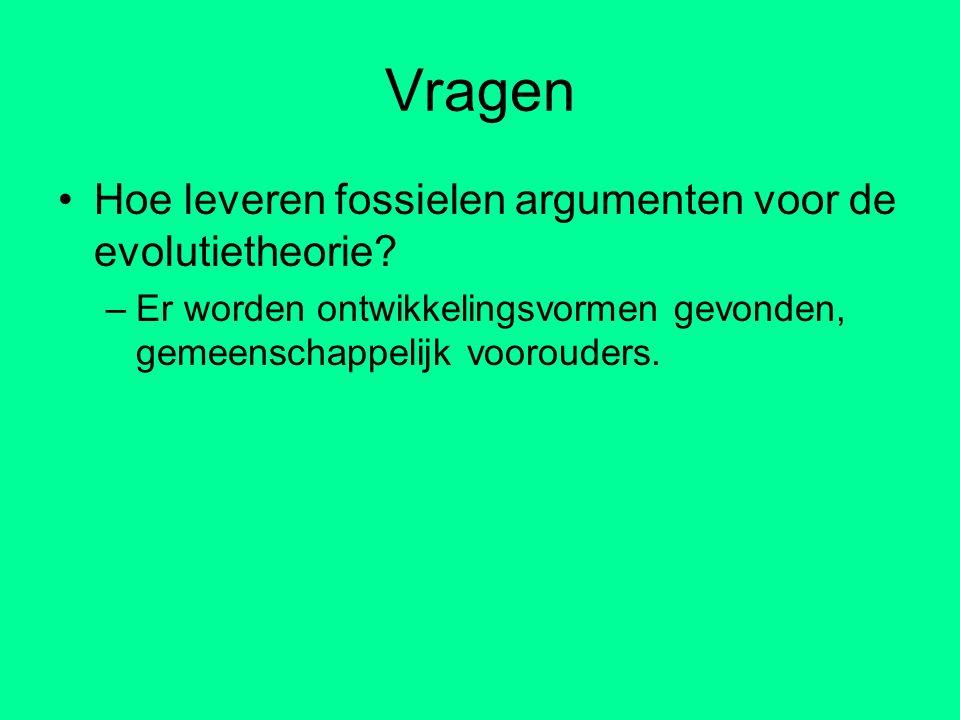 Vragen Hoe leveren fossielen argumenten voor de evolutietheorie